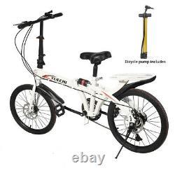 20 Lightweight Alloy Folding Bike City Riding Bicycle 7 Speeds withRear Rack Unis