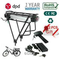 36V 13A E-bike Battery Lithium Pack Lockable with Rear Rack for 200W-500W Motor