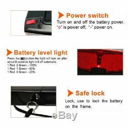 36V 13AH Rear Rack Ebike Electric Bike Lithium Battery LED For 250W 350W 500W