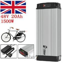 48V 20Ah 1000w-1500W Rear Rack Carrier E-bike Li-oin Battery + 3A Charger