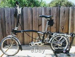 BROMPTON M6L BLACK SIX Speed Folding Bike + Hard Plastic Travel Case -BK Rack