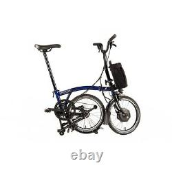 Brompton Electric 6 speed with city bag electric blue rear rack