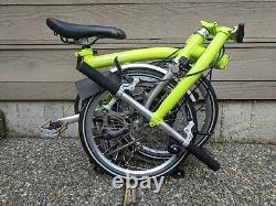 Brompton S2L, 2 Speed, Superlight Titanium full fenders titanium rack One-owner