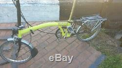 Brompton yellow 5 speed extendable seatpost rear rack folding bicycle