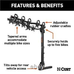 Curt 18065 Premium Hitch Mounted Bike Rack with Tapered Arms for Up to 5 Bikes