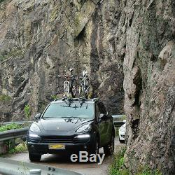 Heavy Duty 2-Bike Fork Mount Roof Fit Car Rack Bike Carrier with Rear Wheel Straps