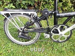 Now In London Black Brompton M6r Folding Bike + Rack + Dynamo Lights + Bag