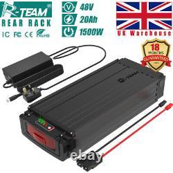 R-Team 48V 20Ah 1000W Rear Rack E-bike Li-oin Battery Pack 3A Charger Brand Cell