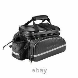 ROCKBROS Bike Rack Bag Waterproof Carbon Leather Rear Pack Trunk Pannier Black