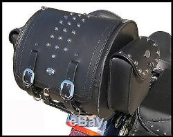 Rear Studded Trunk Bag for Motorcycle Luggage Rack, Heritage style
