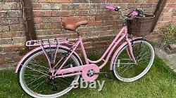 SOLD Ladies Girls Bike Bicycle Pink With Basket, Mudguards, Rear Rack 6 Speed