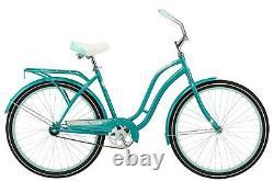 Schwinn Huntington Cruiser Bike 26 wheels single speed women teal rear rack new