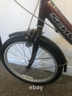 Schwinn Zoom Adult Easy Fold Folding Bike 20 Wheels, Rear Carry Rack Burgundy