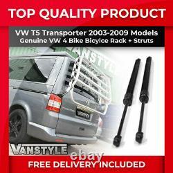 Vw T5 Transporter 03-09 Genuine 4 Bike Tailgate Bicycle Rack & 1080n Gas Struts