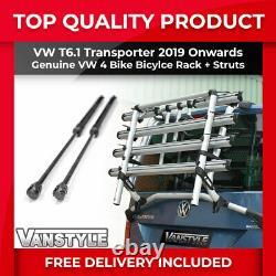 Vw T6.1 Transporter 19 Genuine 4 Bike Tailgate Bicycle Rack & 1200n Gas Struts